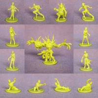 mini PVC figure Doll model toy monster uncolored white mold for diy ,14pcs/set