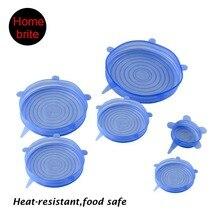 6 unids saran para envolver alimentos Tapa de Silicona universal-tazón tapa de la olla-silicio estiramiento tapas cubierta de pan de silicona de Cocina Tapa de vacío Sellador K180
