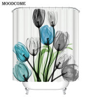 tulip floral shower curtain fabric douchegordijn new arrival drop shipping 3d curtain for the bathroom