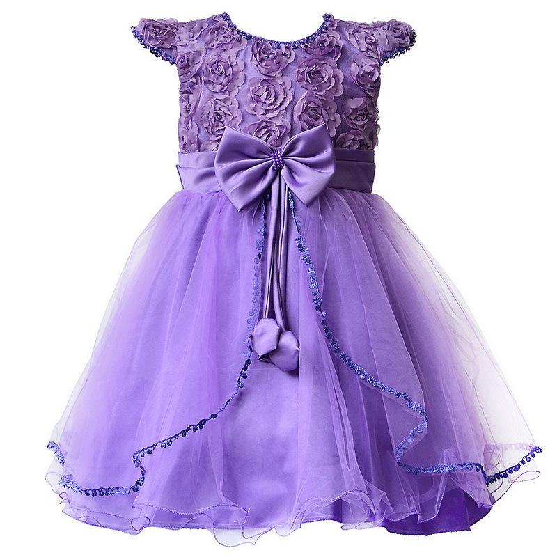 Flower Girl Dresses Purple with Rose bow Dress Wedding Easter ...