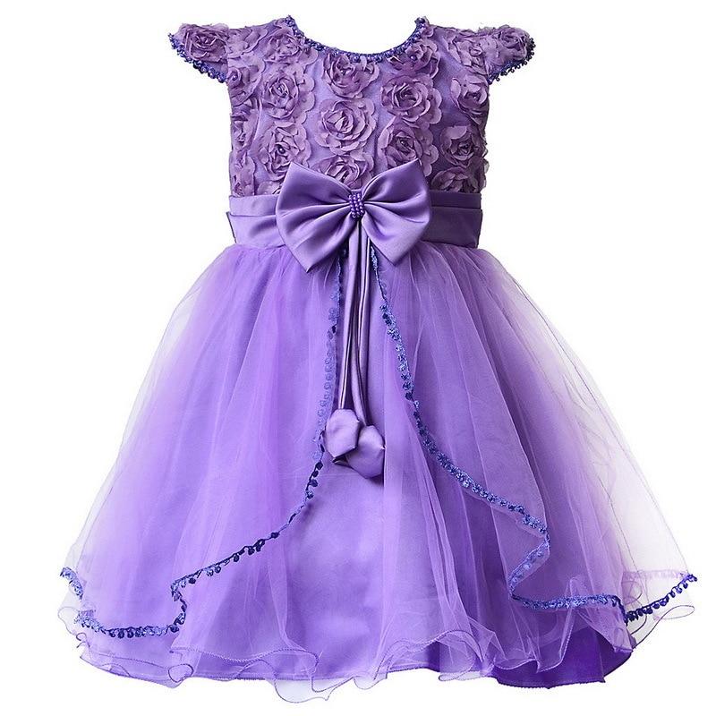 Flower Girl Dresses Purple with Rose bow Dress Wedding