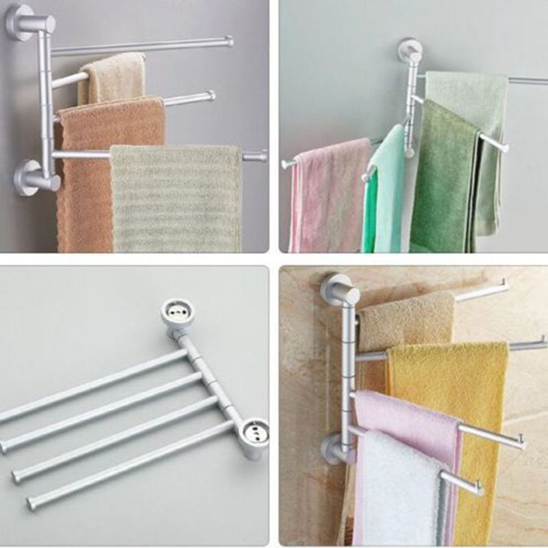 Aluminum Swivel Towel Bar Rotating Towel Rack 4 Bar Bathroom Kitchen Towel Rack Rod Holder Wall Mounted Polishing Hanger TSLM1 free shipping polished chrome bathroom towel rack holder wall mounted swivel towel bar hanger