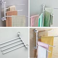 Aluminum Swivel Towel Bar Rotating Towel Rack 4 Bar Bathroom Kitchen Towel Rack Rod Holder Wall