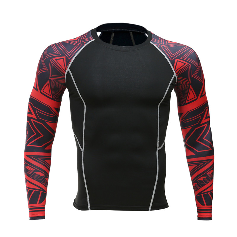 Men crime compression shirt with long sleeves breathable quick dry flower arm T shirt bodice font