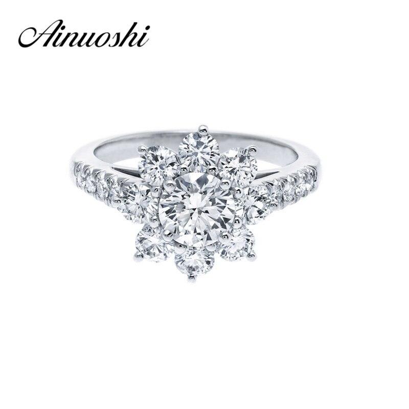 AINOUSHI 0.8 Carat Wedding Ring Sona Round Cut Flower Ring 925 Sterling Silver Ring Women Engagement Jewelry Anniversary Gift