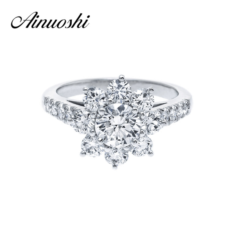 AINOUSHI 0.8 Carat Wedding Ring Sona Round Cut Flower Ring 925 Sterling Silver Ring Women Engagement Jewelry Anniversary Gift