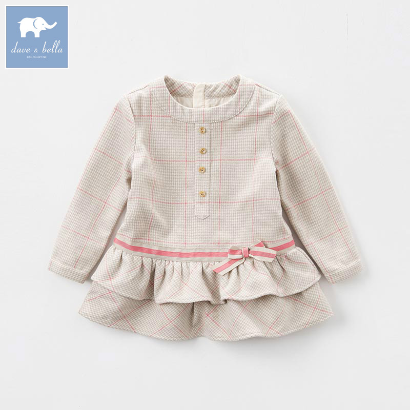 DK0729 dave bella autumn kids girls fashion wool tops  children high quality clothes child lovely tees