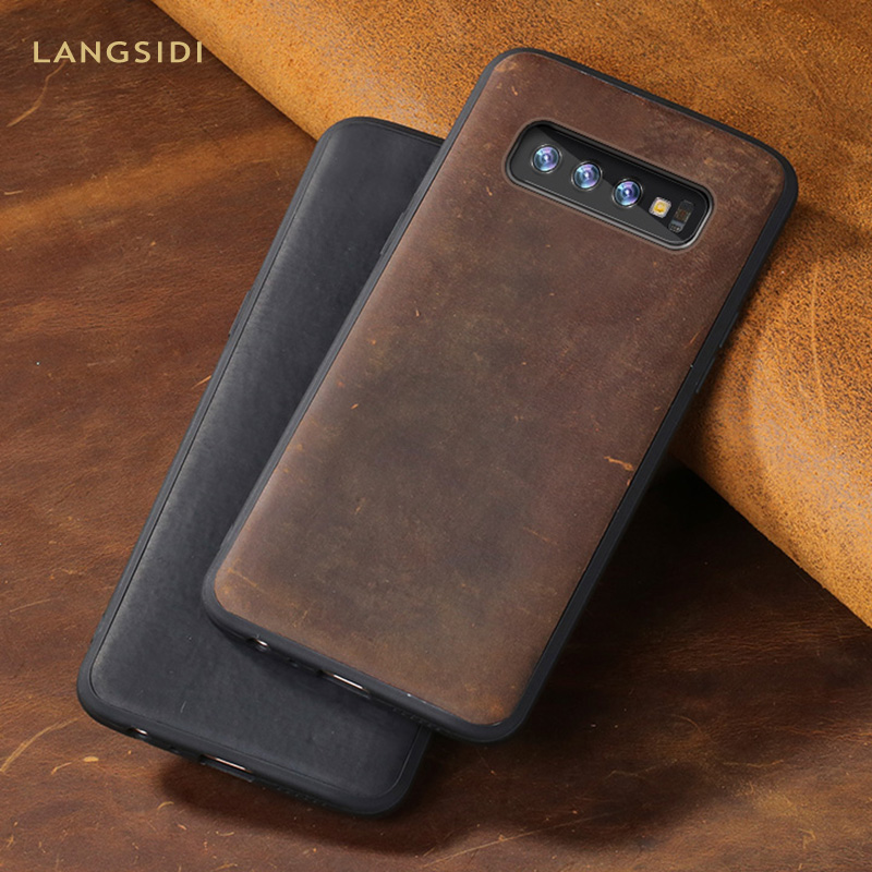 Genuine PULL-UP Leather case for Galaxy S10 S8 S9 S7 plus cover for Samsung A50 A70 A5 S10e Note 8 9 Crazy Horse leder Armor