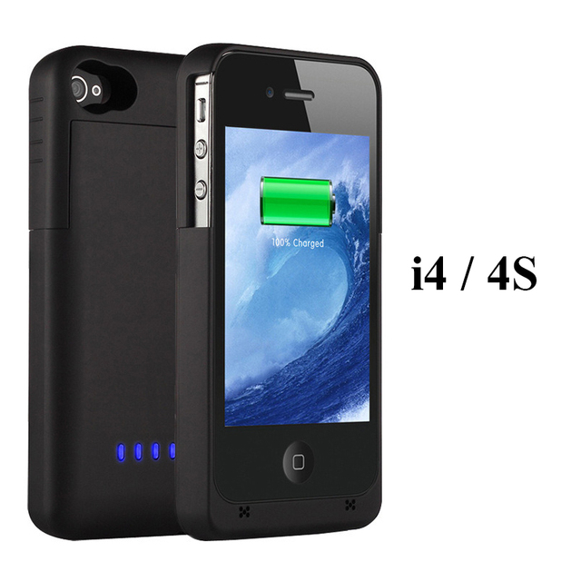 Caja de batería de reserva 1900 mah banco de la energía externa del cargador pack para iphone 4 4s con cable usb
