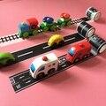 Сплава автомобиля автомобиль игрушечный поезд Железная Дорога пояс слот бумаги может быть произвольным DIY дизайн трек сцены Трек ленты ручной клади игрушка