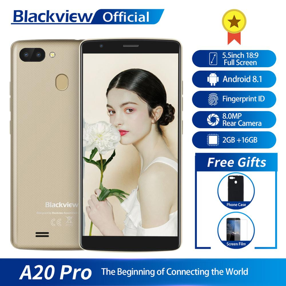 Blackview A20 Pro Smartphone 2GB+16GB MT6739WAL Quad Core Android 8.1 5.5inch 18:9 Full Screen Fingerprint 4G Mobile Phone