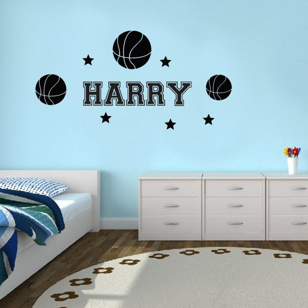 personalise name with basketballs 5 stars removable vinyl wall