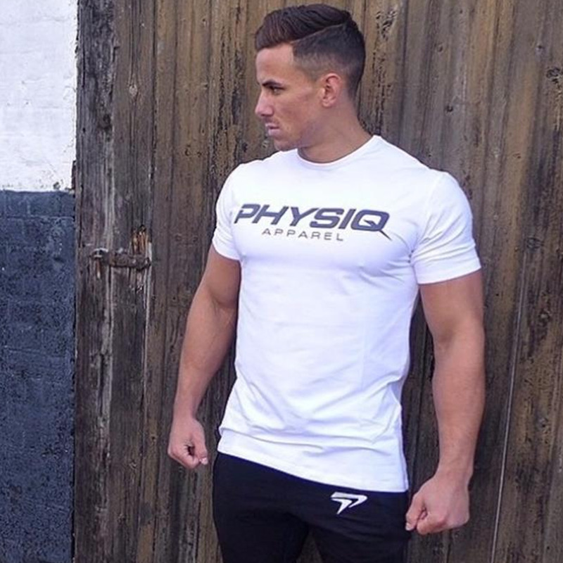 PHYSIQ brand Men cotton   t     shirts   fashion Casual gyms Fitness Bodybuilding workout Short sleeves tees summer style male tops