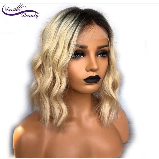 Rêve Beauté Court Bob Perruques de Cheveux Humains 1b 613 Noir Foncé racine Ombre Blonde Perruque Avant de Lacet Avec Bébé Cheveux Remy Corps vague 1