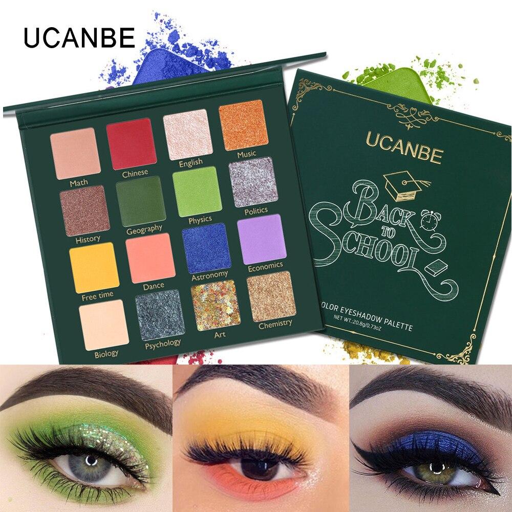 UCANBE BACK TO SCHOOL da Paleta Da Sombra de Olho Maquiagem Dos Olhos Verdes Cores Pressionado 16 Glitter Shimmer Matte Eyeshadow Cosméticos Pigmento