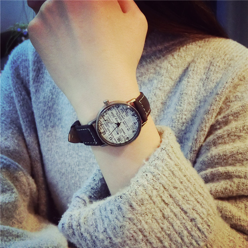 Vintage Leather Quartz Watch Women Copper Dial Paper Pattern Sen female Clock College Style Fashion Casual Girls Wrist Watches