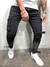 Multi pocket Fashion Men Ripped Skinny Jeans Destroyed Frayed Slim Fit Denim Pant casual men slim hole Zipper balck jeans pants