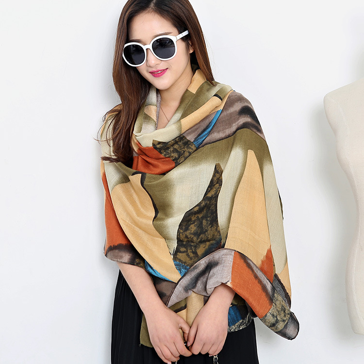 Europe and the United States triangular geometric printing large shawl twill cotton shawl scarf
