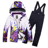 Fleeced Girls Ski Suit Waterproof Kids Ski Jacket Ski Pants thermal boys Winter Skiing Snowboarding Clothing 30 degrees