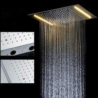 Новый Дизайн Ванна Электрический светодиодный Потолочные встраиваемые осадков Насадки для душа 304SUS Аксессуары для ванной комнаты душ Верх