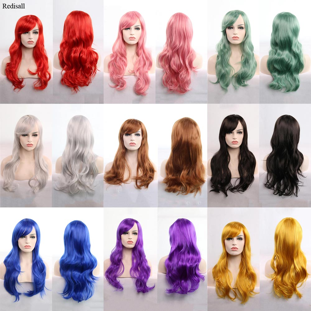 Women Synthetic Hair Body Wave Lolita Wig For Adult High Temperature Fiber Halloween Wigs Purple Red Black Pink Green Blue Hair
