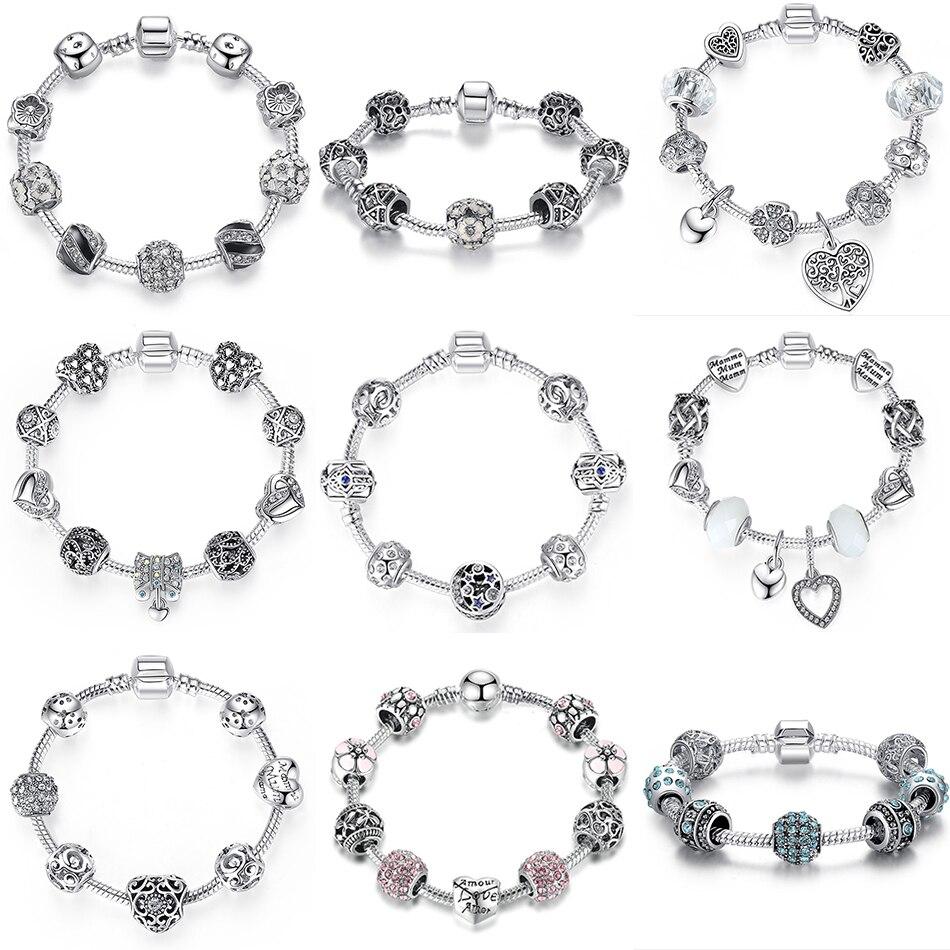BELAWANG Moda Kadınlar Kadınlar Için Bilezik Gümüş Kristal - Kostüm mücevherat - Fotoğraf 6