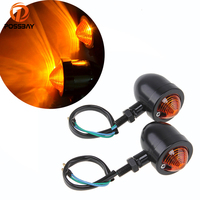 1 Pair Universal Scooter Motorcycle Bullet Blinker Lamp Turn Signal Indicator Amber Light Chrome Black For