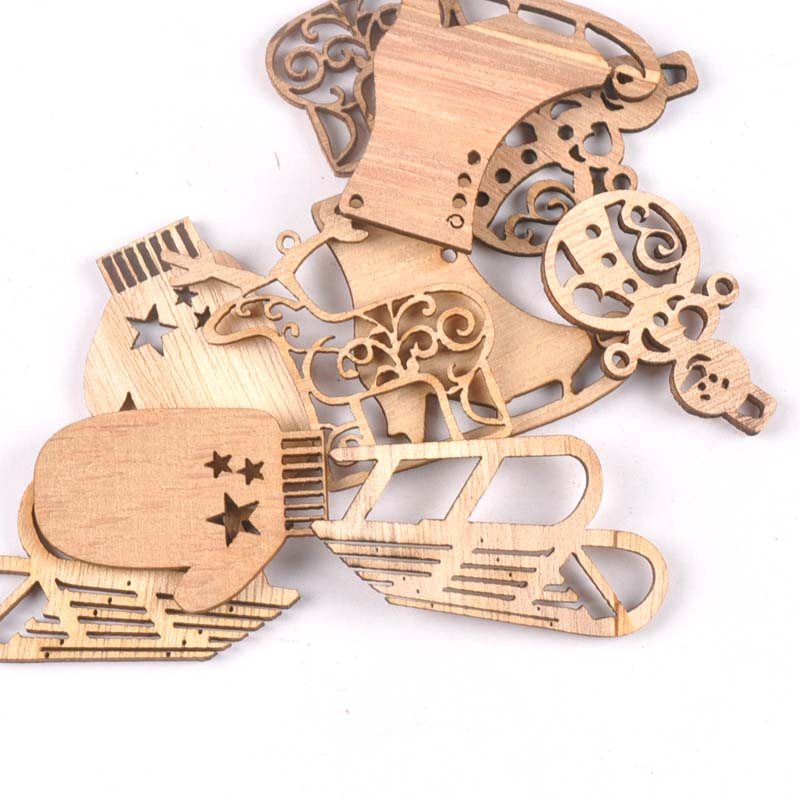 10pcs Mixed Christmas Snowman/reindeer/sled Natural Wooden Home Decoration DIY Crafts Handmade Scrapbooking Wood Ornament M1850