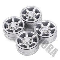 "INJORA 4Pcs Silver 1.55"" Aluminum Alloy Wheel 1.55 Beadlock Rim for 1/10 RC Crawler Car D90 TF2 Tamiya CC01 LC70 LC80 6"