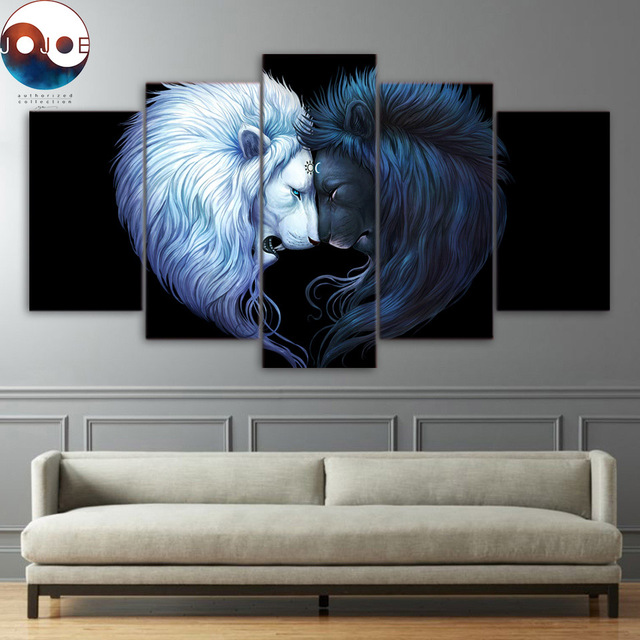 Brotherhood black by jojoesart hd print 5 piece canvas art black and white lion poster with
