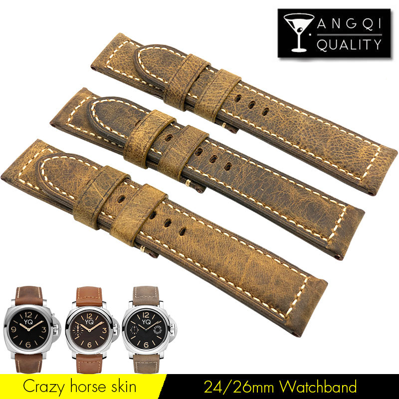 Men's Crazy Horse Skin Cow Leather Watchband Watch Strap Band For Panerai Man Retrol For Breitling Bracelet Brown 24mm 26mm 22mm
