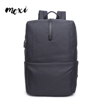 Moxi Plaid Oxford Cloth New Backpack Headphone Jack USB Charging Multi function Laptop Backpack Male Simple Travel Bags