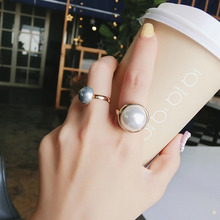 Korean Custom Vintage Semi-Circular Ring With Simulated Pearl Beads Free Size Opening Finger Rings For Women Jewelry 2 pcs/set