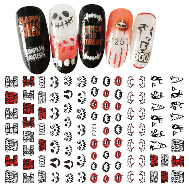 10pcs halloween nail sticker designs 3d water decals french 10pcs halloween nail sticker designs 3d water decals french manicure tips ultra thin water transfer foil prinsesfo Gallery