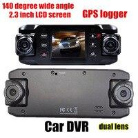 HD 140 Degree Wide Angle Dual Lens Car DVR GPS Logger 2 3 Inch G Sensor