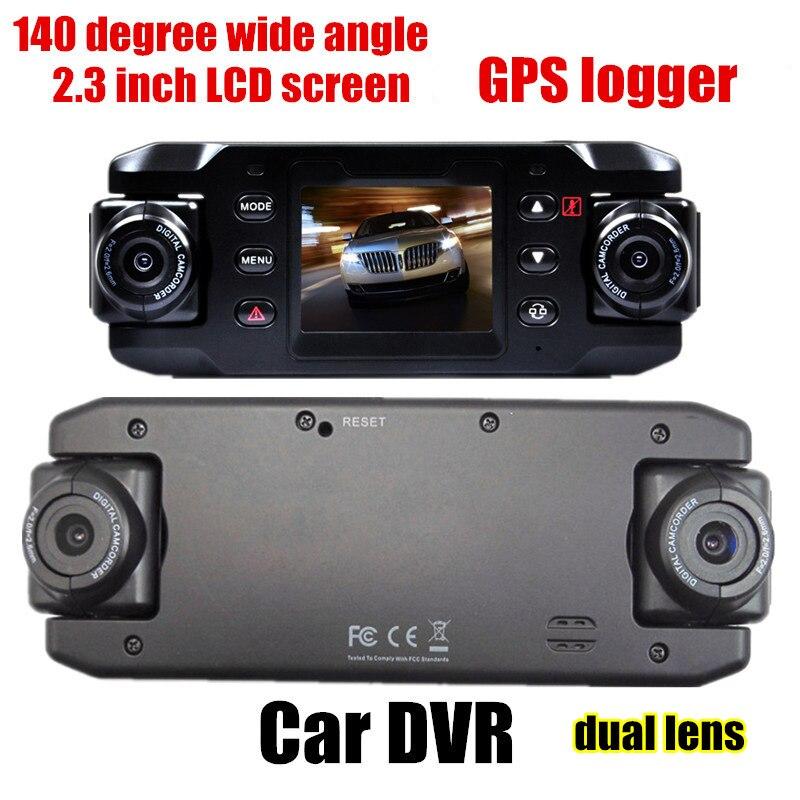 HD 140 degrés grand angle double lentille Voiture DVR GPS logger 2.3 pouce G-capteur véhicule caméra vidéo recoder caméscope
