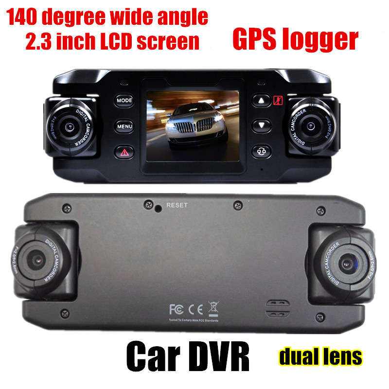 HD 140 degree wide angle dual lens Car DVR GPS logger 2.3 inch G-sensor vehicle camera video recoder camcorder