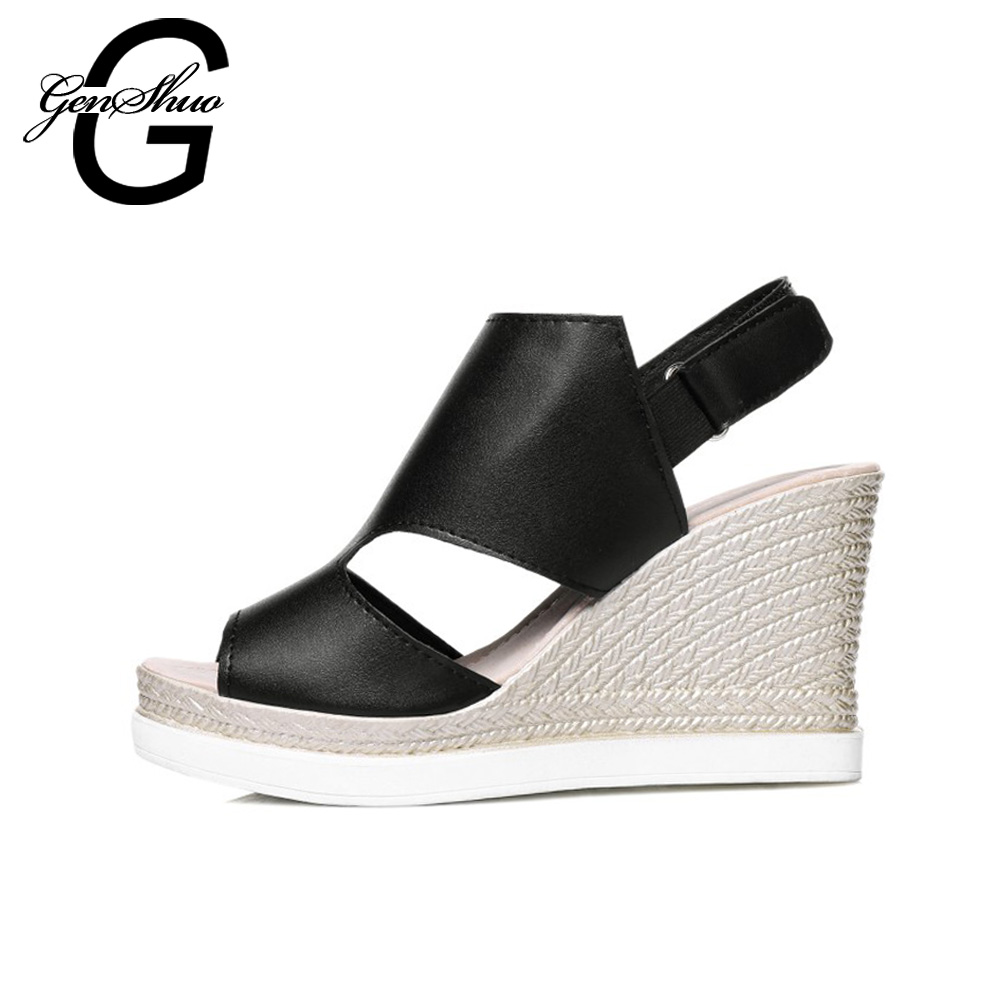 0e94ad01dd86 GENSHUO New 8CM Women Platform Sandals Black Silver Beige Women Gladiator  Sandals Fashion Wedge Shoes Small 33 Big Size 43