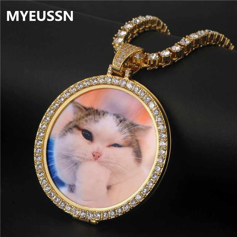 Round Photo Custom Necklace&Pendant Medallions copper tennis chain Gold Cubic Zircon Picture necklace Men's Hip hop Jewelry Gift