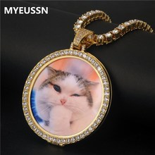 Round Photo Custom Necklace&Pendant Medallions copper tennis chain Gold Cubic Zircon Picture necklace Mens Hip hop Jewelry Gift