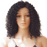 S Noilite 40cm Glueless Kinky Curly Bob Lace Front Wig Heat Resistant Synthetic Hair Natural Black