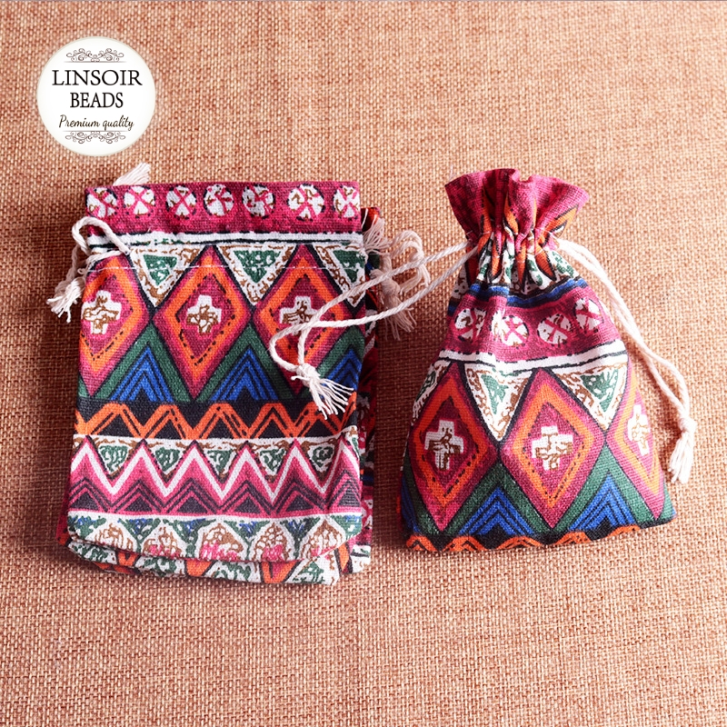 10PCs Colorful Boho Pattern Jewelry Packaging Bags Ethnic Fabric Pouches Gift Bags Wedding Party Supplies 10x14cm
