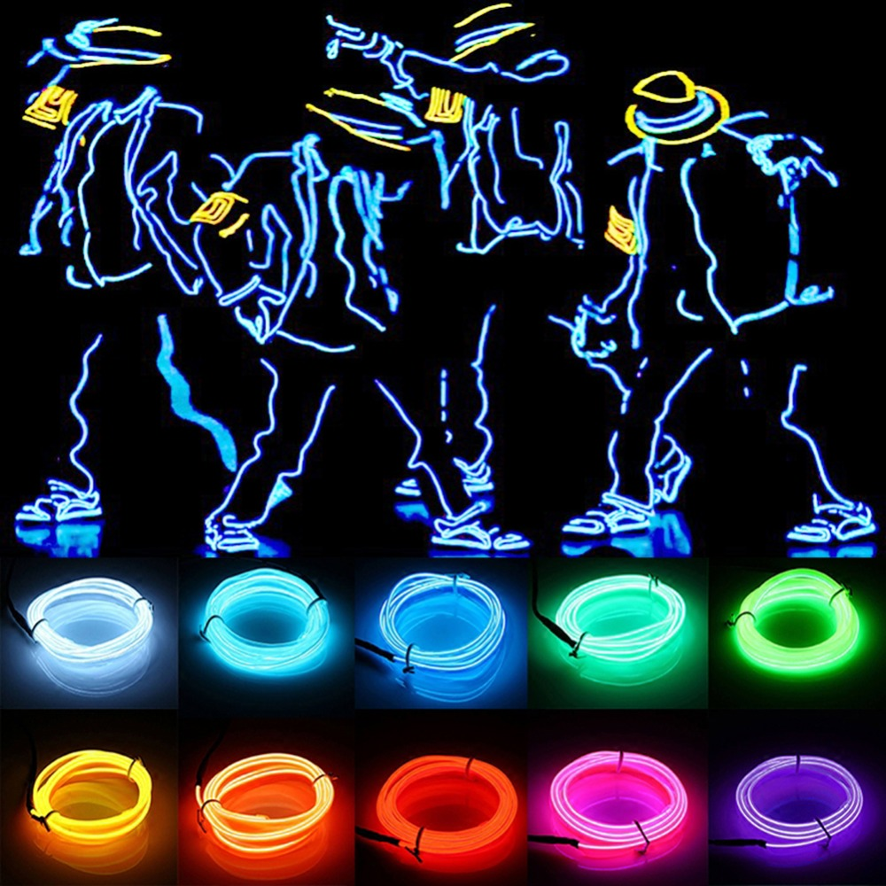 1m/3m/5m 3V waterproof led strip Glow EL Wire Rope tape Cable Strip LED Neon Lights Shoes Clothing Car Flexible Neon Light waterproof decorative el cold light flexible cable w drive jade green 3m 2 x aa
