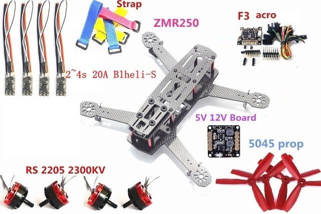 ZMR250 250mm Carbon Fiber F3 Flight Controller RS2205 Motor mini 2-4S 20A blheli S ESC  5045 propeller for QAV250 RC Plane