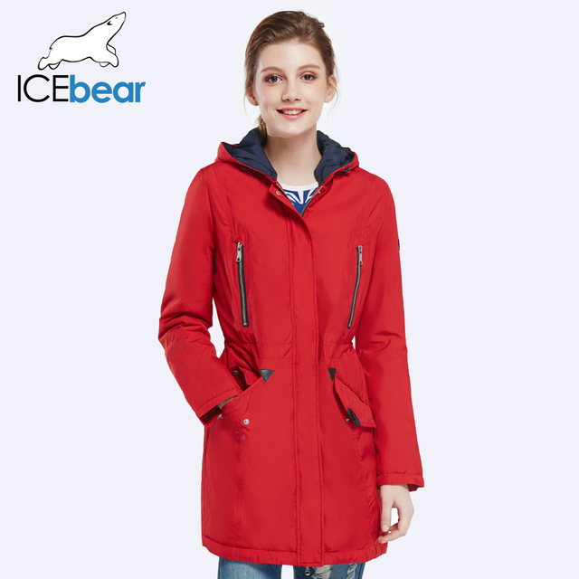 Icebear 2016 новый бренд одежды женщины весна осень сельма длинные тонкие куртка шляпа съемный открытый теплое пальто 16G262D