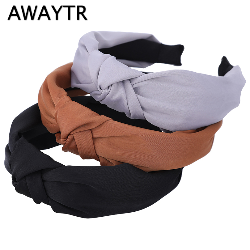 AWAYTR 2019 New Fashion Solid Color Headband Women Girl Hair Accessories Daily Party   Headwear   Tie A Knot Hairbands Headband