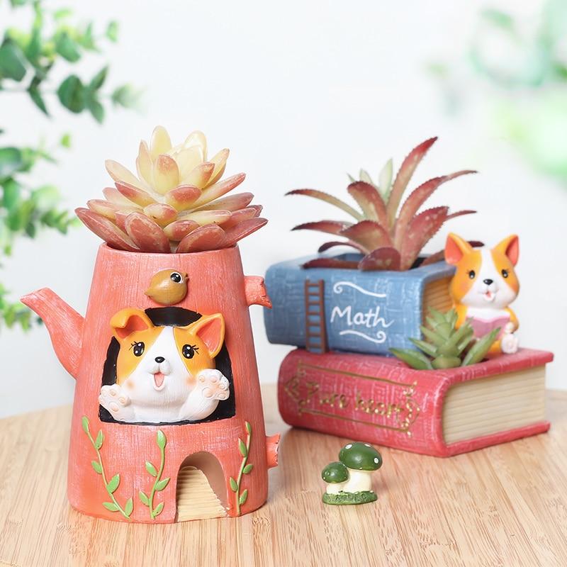 Creative Resin Fleshy Flower Pot Crafts Desktop Decorations Corgi Dog Potted Ornaments New Garden Pots & Planters