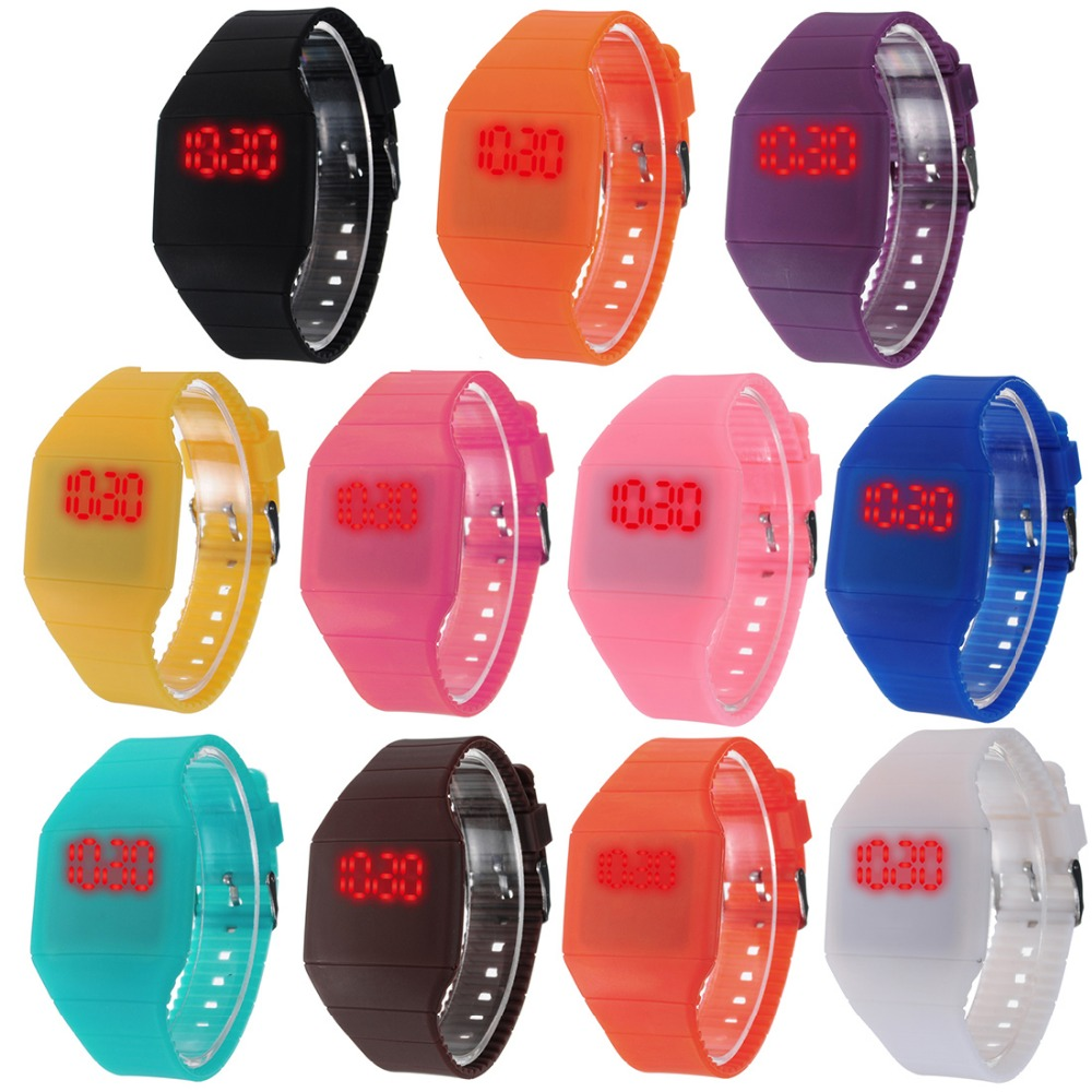 2016 New Brand Waterproof Kids Watch Fashion Sports LED Digital-watch Geneva Silicone Jelly Children Digital Watches for Women