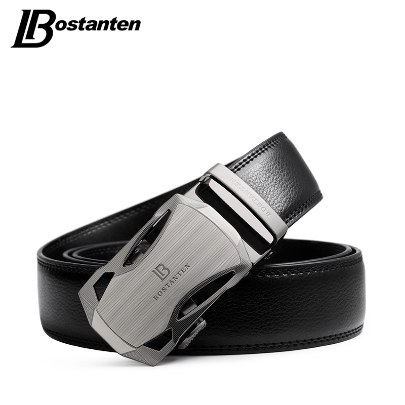 BOSTANTEN Men 39 s Belt Cow Leather Belts Brand Fashion Automatic Buckle Black Genuine Leather Belts for Men 3 4cm Width in Men 39 s Belts from Apparel Accessories