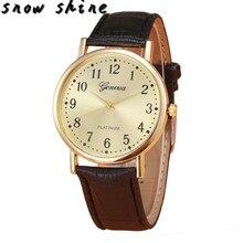 snowshine 10xin Woman Mens Retro Design Leather Band Analog Alloy Quartz Wrist Watch free shipping